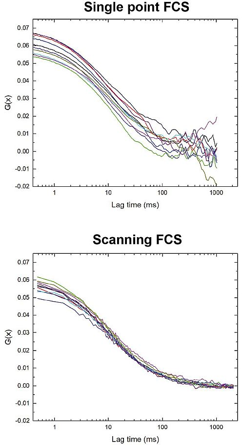 Comparison single point FCS vs. scanning FCS