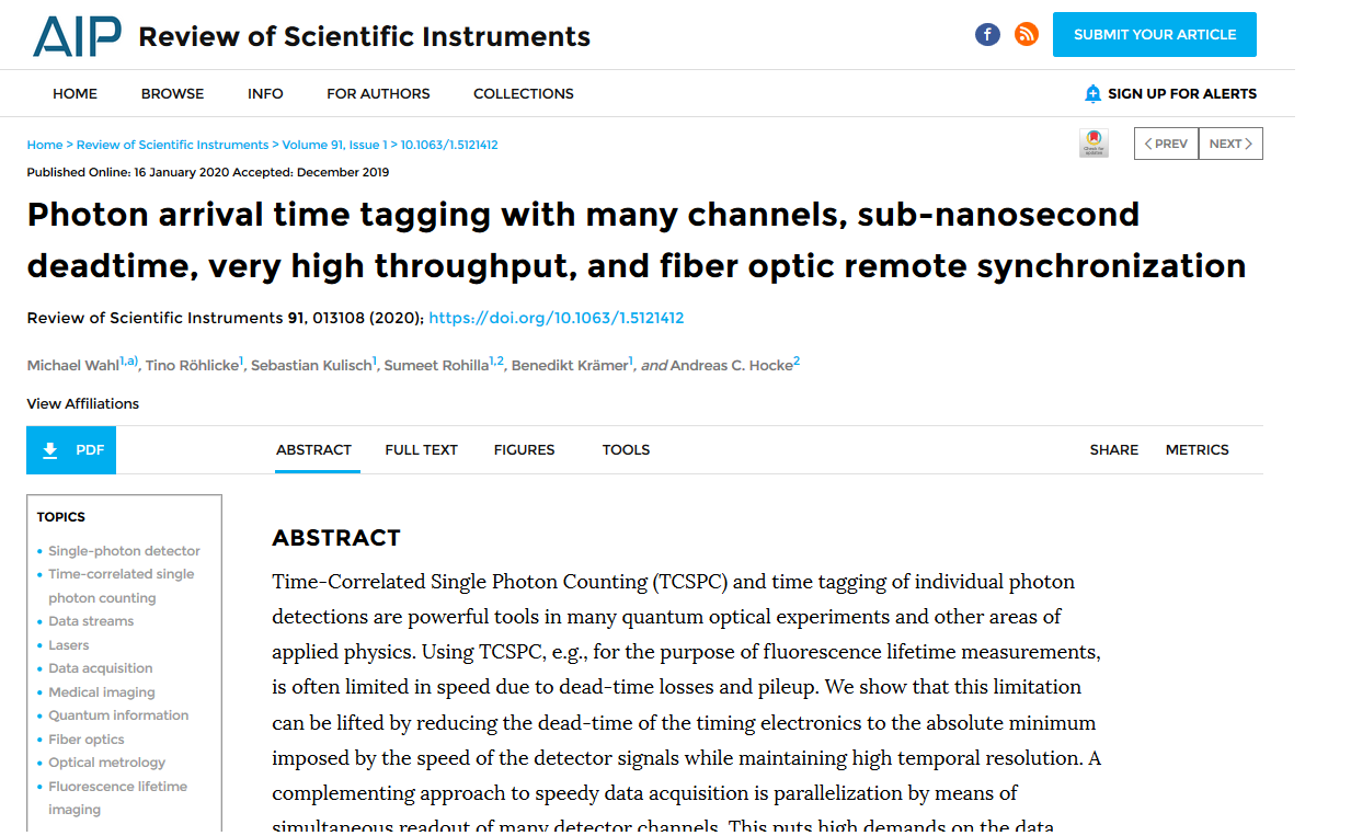 Paper on photon arrival time tagging
