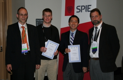 Steffen J. Sahl, Matthew D. Lew and Ryan A. Colyer(missing) - winner young investigator award at BIOS 2010 along with the jury