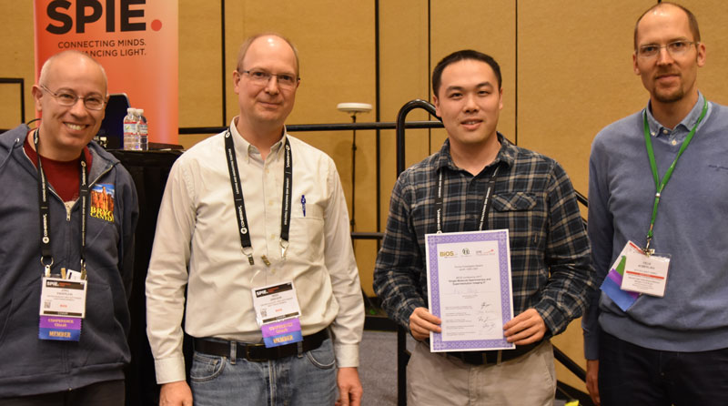 Dr. Biqin Dong from the Functional Optical Imaging Laboratory at the Northwestern University, USA (third from left) - winner young investigator award at BIOS 2017 along with the jury.