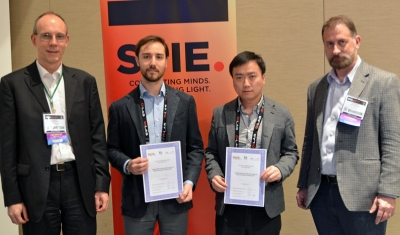 Evan Perillo and Dong Li - winners of the youn investigator award at BiOS 2015 - along with the jury.