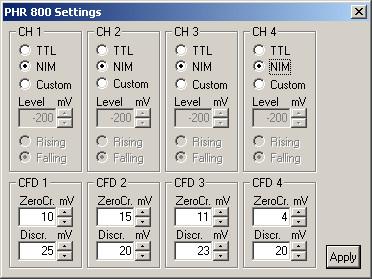 PHR 800 - Configuration dialog