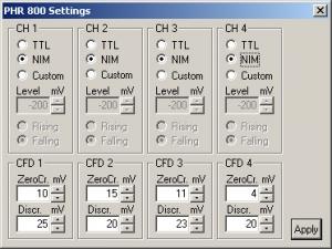PHR 800 - Configuration dialog | PHR 800
