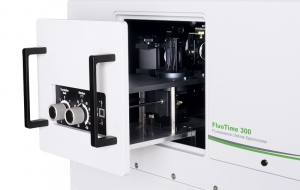 Sample mounting unit with clamp front face sample holder inside FluoTime 300 | FluoTime 300
