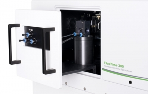 Sample mounting unit with temperature stabilzed holder for 1x1cm cuvettes inside FluoTime 300 | FluoTime 300