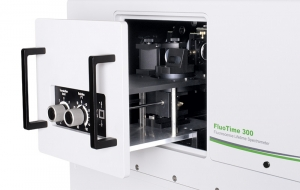 Sample mounting unit with front face sample holder inside FluoTime 300  | FluoTime 300