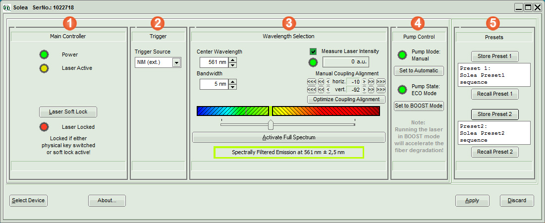Solea software - The clearly arranged function modules make modifications easy.
