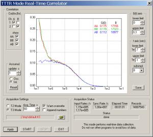 TimeHarp 260 - Screenshot of online correlator